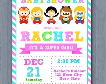 Girl Baby Shower Invitation, Superhero girl Baby Shower Invitation, Supergirls baby shower invitation