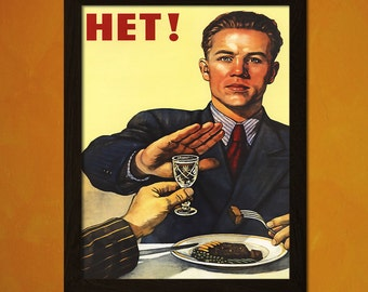 No To Alcohol - Soviet Poster Kitchen Wall Decor Food Poster Kitchen Decor Gift Idea Kitchen Wall Art BUY 2 GET 1 FREE