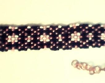 T and X design black pink white bracelet