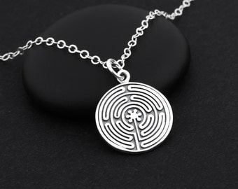 Labyrinth Necklace, Labyrinth Jewelry, Sterling Silver, Maze Necklace, Meditation Necklace, Spiritual Necklace, Labyrinth Pendant