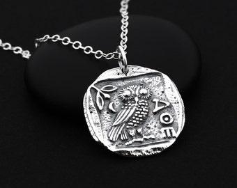 Athena Owl Necklace, Athena Coin, Athena Jewelry, Ancient Coin Jewelry, Greek Goddess Jewelry, Athena Necklace, Owl Necklace Jewelry