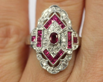 Exquisite Art Deco Ruby and Diamond 14kt White Gold Ring