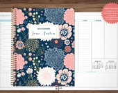 planner 2016 2017 custom planner 2016-2017 student planner VERTICAL LAYOUT - TABS weekly calendar agenda daytimer / navy pink gold floral