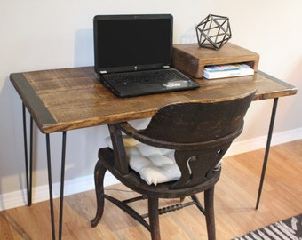 desk, table, wood desk, computer desk, writing desk, simple desk, wood furniture, farm house table, bespoke, contemporary, hairpin legs