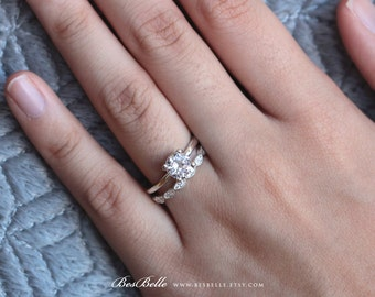 1.27 ct.tw Wedding Set Ring-Bridal Set-Solitaire Engagement Ring-W/ Art Deco All or Half Eternity Band Ring-Brilliant Cut Stones [61333-2]