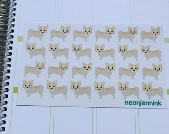 Cream and Tan Long Haired Chihuahua Stickers