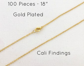 """100 Pcs GOLD PLATED 18"""" Finished Chain, Flat Shiny Cable Chain Soldered, 1.75 x 1.85mm, 100 Pieces, Gold Chain, Bulk Chains, 18 inch"""