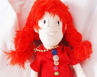 Pippi Doll, Pippi Longstocking Fabric Doll, Аrt Doll Handmade, Ragdoll Doll, Rag Doll Birthday Gift for girls, Gift for Girl Decor Doll Doll