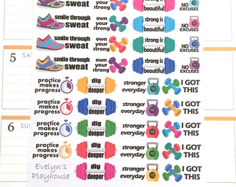 Fitness / Exercise Strength Planner Stickers