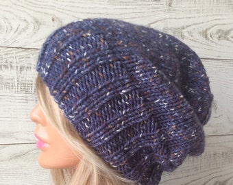 Knit hat, slouchy hat, knit beanie hat, womens knit hat, knit slouchy hat