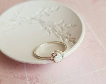 White opal ring, sterling silver ring, delicate ring, october birthstone ring, crown ring, gift for her, bridesmaid gift
