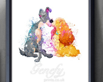 Disney Lady and the Tramp Watercolor Poster Print - Watercolor Painting - Watercolor Art - Kids Decor- Nursery Decor