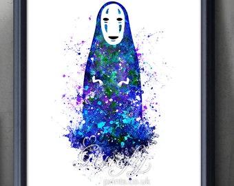 Spirited Away Print, No Face Studio Ghibli Watercolor Poster Print [1] - Watercolor Painting,Watercolor Art ,Kids Decor, Nursery Decor