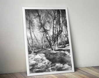 art PRINT of original pencil trees drawing by Katarzyna Kmiecik / nature drawing, pencil trees, pencil landscape, drawing print, atmospheric