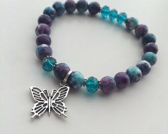 Purple pearls, Swarovski & Butterfly bracelet