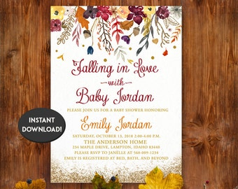 Awesome Fall Baby Shower Invitations   Floral Watercolor Card   Flowers, Autumn,  Baby Girl  