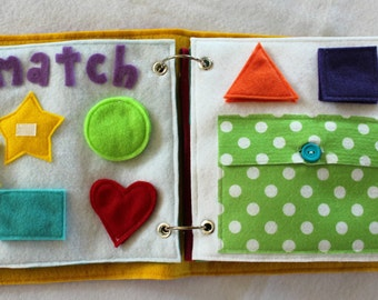 """NEW!  """"Match"""" 2 Page Quiet Book Set to Expand Your Custom Handmade Quiet Book"""