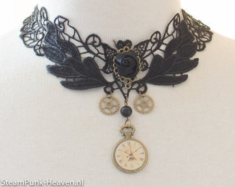 steampunk lace choker with clock, cogs and rose