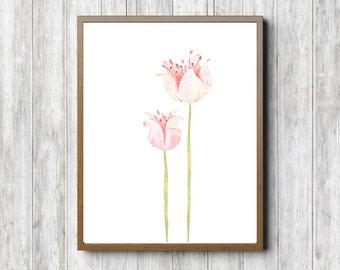 Pink Watercolor Flower Printable Wall Art - Girls Room / Nursery Art Decor - Office Art Print - Digital Artwork - Long Stem Flowers