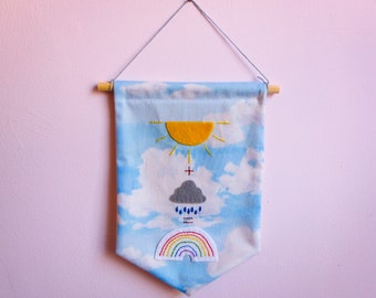 Weather Equation Fabric and Felt Hanging Banner | Flag | Pennant | Wall Hanging | Decoration