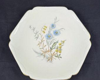 Bavaria plate serving dish floral design large plate vintage kitchenware serveware dining flowers hexagon farmhouse cottage