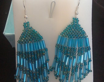 Turquoise Iridescent Native American style earings