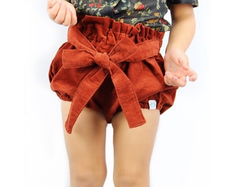 Rust corduroy baby bloomers/Baby girl bloomers/Toddler girl bloomers / Diaper cover/Baby girl shorts / Baby girl fashion / Baby girl clothes