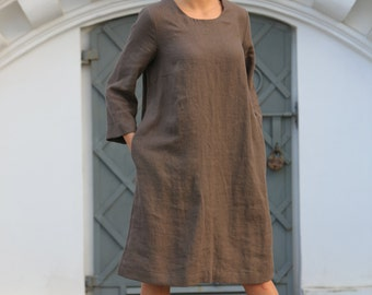 Linen dress / Loose linen top / Linen clothing /  Flax tunic / Casual Comfortable Womens Clothing / Women's top