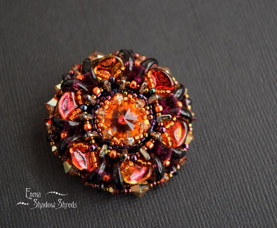 "Brooch ""Fire Flower"" Beaded Brooch Beadwork Brooch Christmas gift for her Xmas gift Flower brooch Red brooch Bead jewelry Christmas Gift"