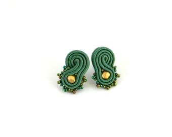 Green earrings, olive green earrings, soutache earrings, stud earrings, beaded earrings, office earrings, small earrings, bohemian jewelry