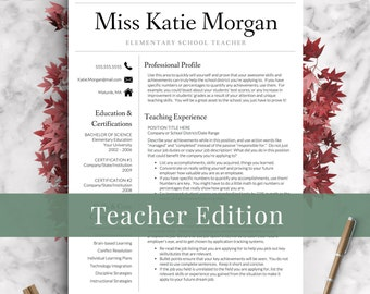 Teacher Resume Template For Word U0026 Pages | 1, 2 And 3 Page Resume Templates  Educator Resume Template