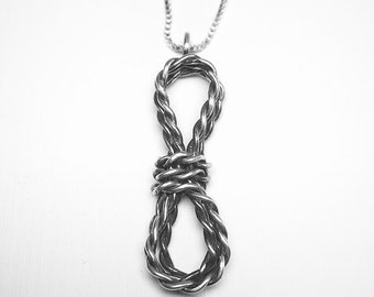 Climbing Rope Necklace. Sterling Silver Rope. Climbing Jewelry. Gift for Climbers. Rock Climbing Charm. Mountain Jewelry.