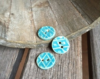 Set of Three Small Round Ceramic Buttons | 3 Small Round Stoneware buttons  | Aqua Buttons | Aqua Pottery buttons
