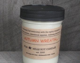 Autumn Wreath  -  100% Pure SOYbean Wax - 8 oz. Jelly Jar