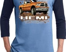 Men's Dodge Shirt Dodge Ram Hemi Trucks Raglan Tee T-Shirt 20423D1-T200