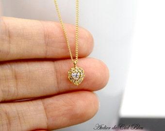 Heart Necklace, Tiny Heart Necklace, Tiny Cubic Zirconia Necklace, Tiny Swarovski Crystal Necklace, CZ Heart Necklace, Gold Heart Necklace