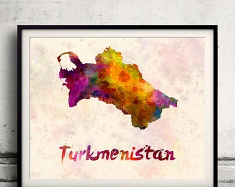 Turkmenistan - Map in watercolor - Fine Art Print Glicee Poster Decor Home Gift Illustration Wall Art Countries Colorful - SKU 1835