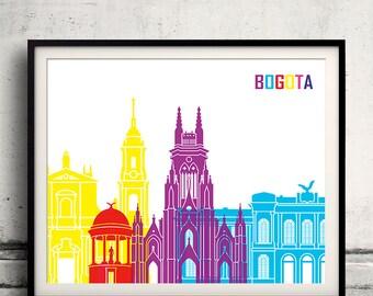 Bogota pop art skyline 8x10 in. to 12x16 in. Fine Art Print Glicee Poster Gift Illustration Pop Art Colorful Landmarks - SKU 1162
