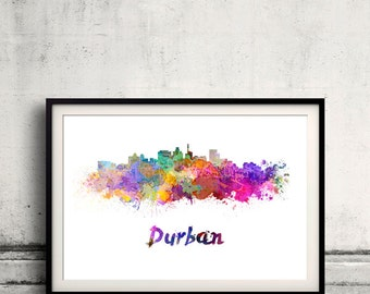 Durban skyline in watercolor over white background with name of city - Poster Wall art Illustration Print - SKU 1467