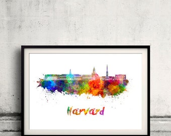 Harvard skyline in watercolor over white background with name of city - Poster Wall art Illustration Print - SKU 1655