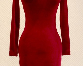 Red cocktail dress, red velvet dress, turtle neck, long sleeve dress, christmas dress, elegant evening dress, fitted winter dress