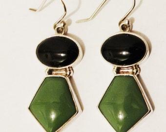 Vintage Sterling Genuine Onyx / Green Stone Earrings. Free Shipping