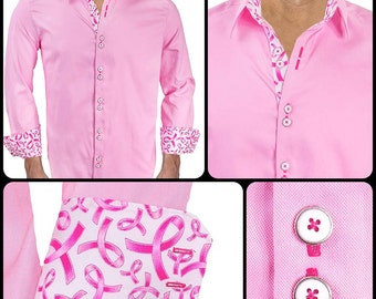 Pink Breast Cancer Dress Shirt - Pink with Metallic Pink and White Ribbons