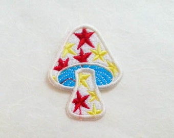 Star&White Mushroom Iron on Patch (M1) - White Mushroom Applique Embroidered Iron on Patch Size  4.2x5.3 cm