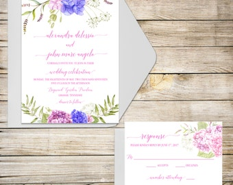 Floral Wedding Invitation, Boho Wedding Invitation, Hydrangea Invitation, Boho wedding, watercolor flower, Blue hydrangea, pink and blue