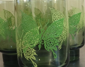 Vintage Libbey Butterfly Glasses | Mid Century Glassware | Mod Style | Made in USA | Brady Bunch | Smokey Glass | Lime Green | Summer BBQ