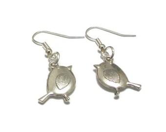 Silver Robin Earrings, Wildlife Bird Earrings, Sterling Silver Earrings, Cute Bird Charm Drop Earrings, Robin Redbreast Pendant earrings