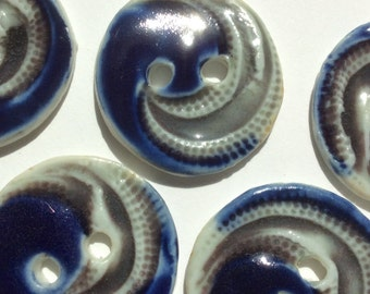 Blue & sea foam gray wave 1-inch circular round procelain ceramic handmade buttons
