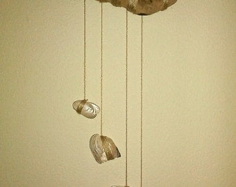 Beach wood and freshwater mother of pearl shells
