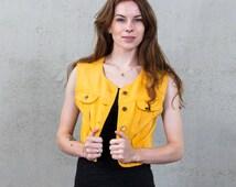 Lee bolero jacket / Vintage yellow Lee jacket / Ladies denim jacket / Men's denim jacket / Size M